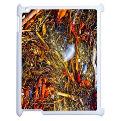 Abstract In Orange Sealife Background Abstract Of Ocean Beach Seaweed And Sand With A White Feather Apple iPad 2 Case (White)
