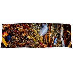 Abstract In Orange Sealife Background Abstract Of Ocean Beach Seaweed And Sand With A White Feather Body Pillow Case (Dakimakura)