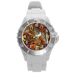 Abstract In Orange Sealife Background Abstract Of Ocean Beach Seaweed And Sand With A White Feather Round Plastic Sport Watch (l)
