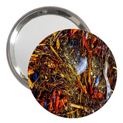 Abstract In Orange Sealife Background Abstract Of Ocean Beach Seaweed And Sand With A White Feather 3  Handbag Mirrors