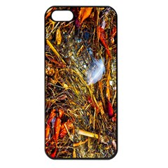Abstract In Orange Sealife Background Abstract Of Ocean Beach Seaweed And Sand With A White Feather Apple iPhone 5 Seamless Case (Black)