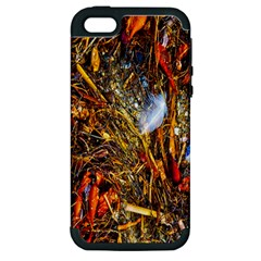 Abstract In Orange Sealife Background Abstract Of Ocean Beach Seaweed And Sand With A White Feather Apple iPhone 5 Hardshell Case (PC+Silicone)
