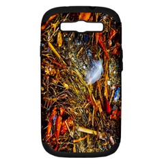 Abstract In Orange Sealife Background Abstract Of Ocean Beach Seaweed And Sand With A White Feather Samsung Galaxy S III Hardshell Case (PC+Silicone)