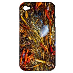 Abstract In Orange Sealife Background Abstract Of Ocean Beach Seaweed And Sand With A White Feather Apple Iphone 4/4s Hardshell Case (pc+silicone)