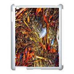 Abstract In Orange Sealife Background Abstract Of Ocean Beach Seaweed And Sand With A White Feather Apple iPad 3/4 Case (White)