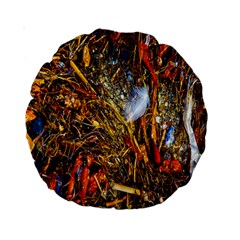Abstract In Orange Sealife Background Abstract Of Ocean Beach Seaweed And Sand With A White Feather Standard 15  Premium Round Cushions