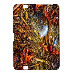 Abstract In Orange Sealife Background Abstract Of Ocean Beach Seaweed And Sand With A White Feather Kindle Fire HD 8.9