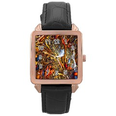 Abstract In Orange Sealife Background Abstract Of Ocean Beach Seaweed And Sand With A White Feather Rose Gold Leather Watch