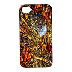 Abstract In Orange Sealife Background Abstract Of Ocean Beach Seaweed And Sand With A White Feather Apple Iphone 4/4s Hardshell Case With Stand