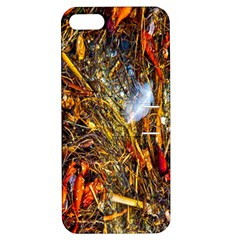 Abstract In Orange Sealife Background Abstract Of Ocean Beach Seaweed And Sand With A White Feather Apple Iphone 5 Hardshell Case With Stand