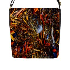 Abstract In Orange Sealife Background Abstract Of Ocean Beach Seaweed And Sand With A White Feather Flap Messenger Bag (L)