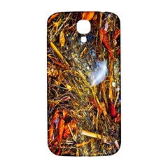 Abstract In Orange Sealife Background Abstract Of Ocean Beach Seaweed And Sand With A White Feather Samsung Galaxy S4 I9500/i9505  Hardshell Back Case