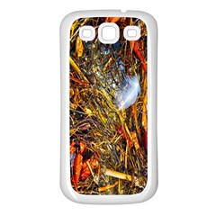 Abstract In Orange Sealife Background Abstract Of Ocean Beach Seaweed And Sand With A White Feather Samsung Galaxy S3 Back Case (White)