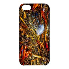 Abstract In Orange Sealife Background Abstract Of Ocean Beach Seaweed And Sand With A White Feather Apple Iphone 5c Hardshell Case