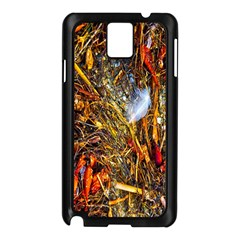 Abstract In Orange Sealife Background Abstract Of Ocean Beach Seaweed And Sand With A White Feather Samsung Galaxy Note 3 N9005 Case (black)