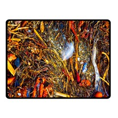 Abstract In Orange Sealife Background Abstract Of Ocean Beach Seaweed And Sand With A White Feather Double Sided Fleece Blanket (small)