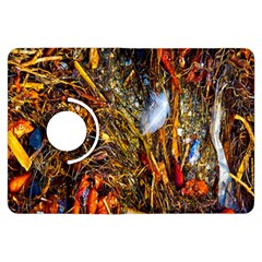 Abstract In Orange Sealife Background Abstract Of Ocean Beach Seaweed And Sand With A White Feather Kindle Fire HDX Flip 360 Case