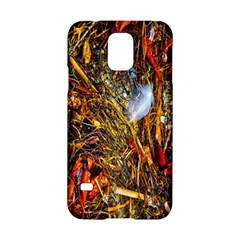 Abstract In Orange Sealife Background Abstract Of Ocean Beach Seaweed And Sand With A White Feather Samsung Galaxy S5 Hardshell Case