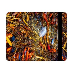 Abstract In Orange Sealife Background Abstract Of Ocean Beach Seaweed And Sand With A White Feather Samsung Galaxy Tab Pro 8.4  Flip Case