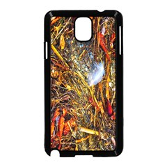Abstract In Orange Sealife Background Abstract Of Ocean Beach Seaweed And Sand With A White Feather Samsung Galaxy Note 3 Neo Hardshell Case (Black)