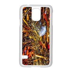 Abstract In Orange Sealife Background Abstract Of Ocean Beach Seaweed And Sand With A White Feather Samsung Galaxy S5 Case (white)