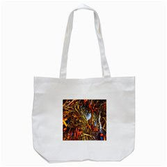 Abstract In Orange Sealife Background Abstract Of Ocean Beach Seaweed And Sand With A White Feather Tote Bag (white)