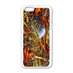 Abstract In Orange Sealife Background Abstract Of Ocean Beach Seaweed And Sand With A White Feather Apple iPhone 6/6S White Enamel Case
