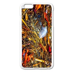 Abstract In Orange Sealife Background Abstract Of Ocean Beach Seaweed And Sand With A White Feather Apple Iphone 6 Plus/6s Plus Enamel White Case
