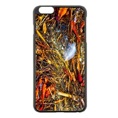 Abstract In Orange Sealife Background Abstract Of Ocean Beach Seaweed And Sand With A White Feather Apple Iphone 6 Plus/6s Plus Black Enamel Case