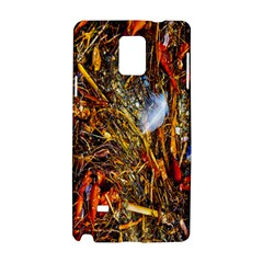 Abstract In Orange Sealife Background Abstract Of Ocean Beach Seaweed And Sand With A White Feather Samsung Galaxy Note 4 Hardshell Case