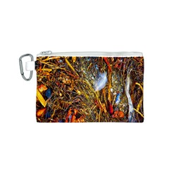 Abstract In Orange Sealife Background Abstract Of Ocean Beach Seaweed And Sand With A White Feather Canvas Cosmetic Bag (S)