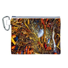 Abstract In Orange Sealife Background Abstract Of Ocean Beach Seaweed And Sand With A White Feather Canvas Cosmetic Bag (l)