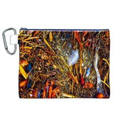 Abstract In Orange Sealife Background Abstract Of Ocean Beach Seaweed And Sand With A White Feather Canvas Cosmetic Bag (xl)