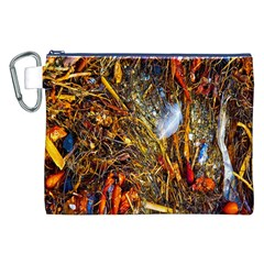 Abstract In Orange Sealife Background Abstract Of Ocean Beach Seaweed And Sand With A White Feather Canvas Cosmetic Bag (XXL)