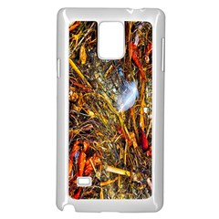 Abstract In Orange Sealife Background Abstract Of Ocean Beach Seaweed And Sand With A White Feather Samsung Galaxy Note 4 Case (White)
