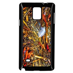 Abstract In Orange Sealife Background Abstract Of Ocean Beach Seaweed And Sand With A White Feather Samsung Galaxy Note 4 Case (black)