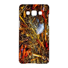 Abstract In Orange Sealife Background Abstract Of Ocean Beach Seaweed And Sand With A White Feather Samsung Galaxy A5 Hardshell Case