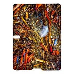 Abstract In Orange Sealife Background Abstract Of Ocean Beach Seaweed And Sand With A White Feather Samsung Galaxy Tab S (10 5 ) Hardshell Case