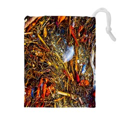 Abstract In Orange Sealife Background Abstract Of Ocean Beach Seaweed And Sand With A White Feather Drawstring Pouches (Extra Large)