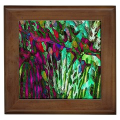 Bright Tropical Background Abstract Background That Has The Shape And Colors Of The Tropics Framed Tiles