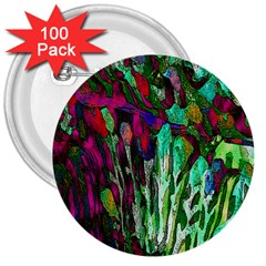 Bright Tropical Background Abstract Background That Has The Shape And Colors Of The Tropics 3  Buttons (100 Pack)