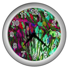 Bright Tropical Background Abstract Background That Has The Shape And Colors Of The Tropics Wall Clocks (silver)