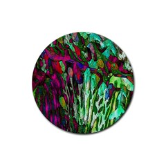 Bright Tropical Background Abstract Background That Has The Shape And Colors Of The Tropics Rubber Coaster (Round)