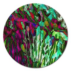 Bright Tropical Background Abstract Background That Has The Shape And Colors Of The Tropics Magnet 5  (round)