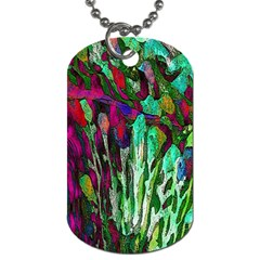 Bright Tropical Background Abstract Background That Has The Shape And Colors Of The Tropics Dog Tag (one Side)