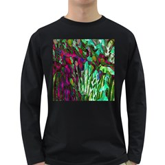 Bright Tropical Background Abstract Background That Has The Shape And Colors Of The Tropics Long Sleeve Dark T-Shirts