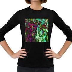 Bright Tropical Background Abstract Background That Has The Shape And Colors Of The Tropics Women s Long Sleeve Dark T-Shirts