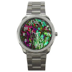 Bright Tropical Background Abstract Background That Has The Shape And Colors Of The Tropics Sport Metal Watch