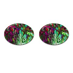 Bright Tropical Background Abstract Background That Has The Shape And Colors Of The Tropics Cufflinks (oval)