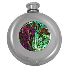 Bright Tropical Background Abstract Background That Has The Shape And Colors Of The Tropics Round Hip Flask (5 Oz)